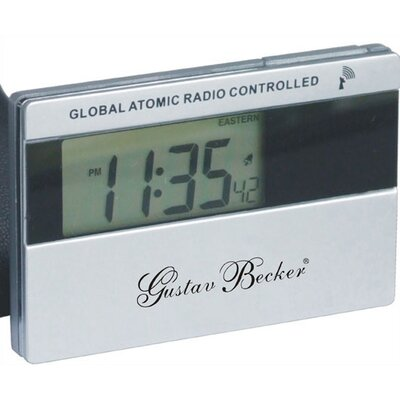 Gustav Becker Pocket Atomic Travel Alarm Clock with Leather Case