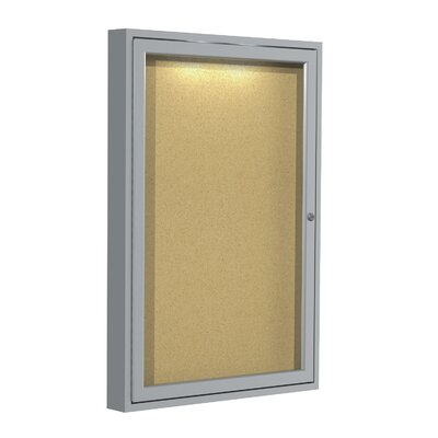 Ghent Enclosed Natural Cork Bulletin Board with Aluminum Frame and Concealed Lighting