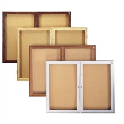 Ghent 2-Door Wood Frame Enclosed Fabric Tackboard