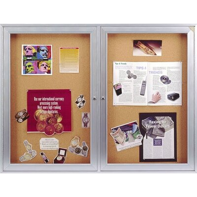 Ghent 1-Door Aluminum Frame Enclosed Natural Cork Tackboard with Concealed Lighting