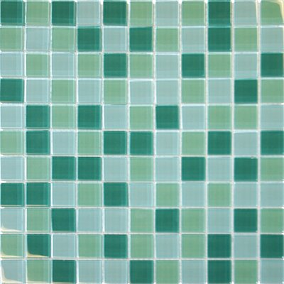 "MS International 12"" x 12"" Crystallized Glass Mosaic in Green Blend"