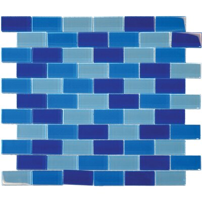 "MS International 1"" x 2"" Crystallized Glass Mosaic in Blue Blend"