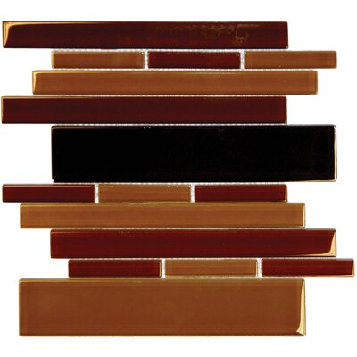 "MS International 12"" x 12"" Crystallized Glass Mosaic in RSP Brown Blend"