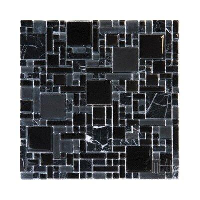 MS International Random Sized Glass Mosaic in Black Marble Glass Mixed Mini Pattern