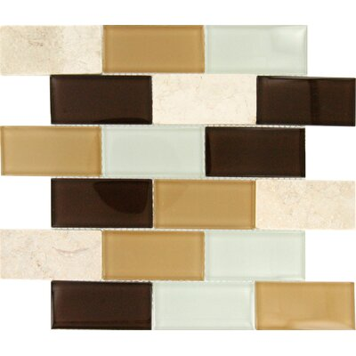 "MS International Desert Mirage 4"" x 2"" Glass Stone Mesh Mounted Mosaic Tile in Multi"