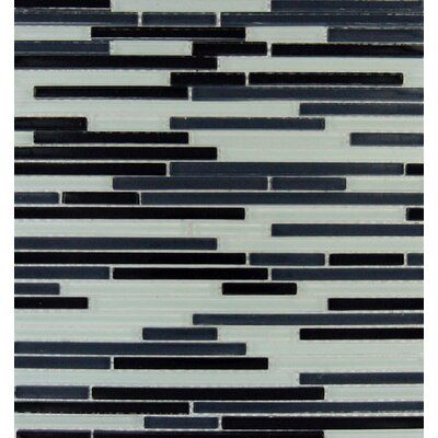 Bamboo Random Sized Glass Mesh Mounted Mosaic Tile in Black and White
