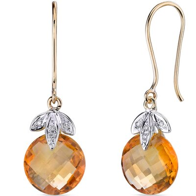 10 Karat Two Tone Gold 7.00 carat Checkerboard Cut Citrine Diamond Earrings