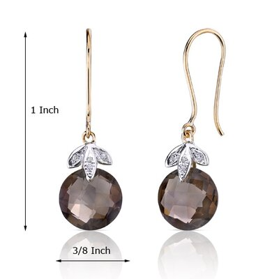 Oravo 10 Karat Two Tone Gold 7.00 carat Checkerboard Cut Smoky Quartz Diamond Earrings  (0.03 carat Stone)