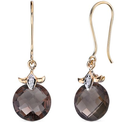 Oravo 10 Karat Two Tone Gold 7.00 carat Checkerboard Cut Smoky Quartz Diamond Earrings (0.02 carat Stone)