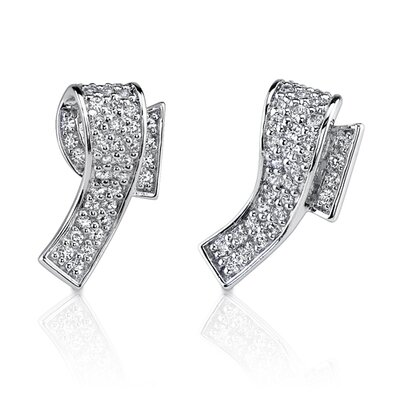 Sophisticated Elegance: Sterling Silver Bridal Style Wrap design Pave Diamond Stud Post Earrings