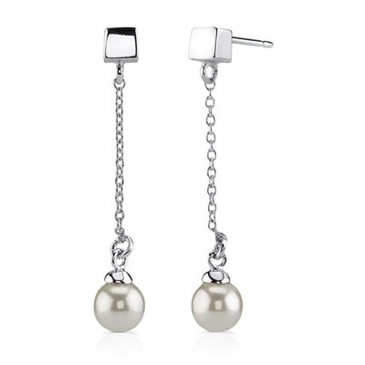 Oravo Coquettish Allure: Sterling Silver Bridal Style Linear Dangle Faux Pearl Earrings