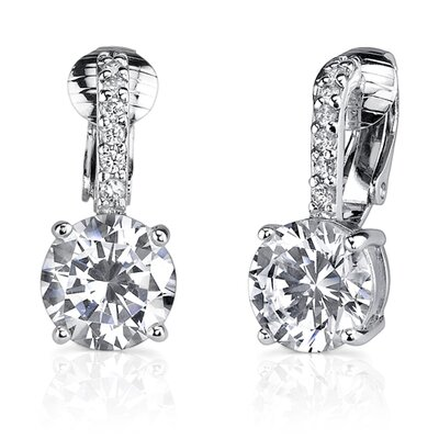 Oravo Solitaire Luxury: Sterling Silver Celebrity Style Bridal Jewelry Clip-on Drop Earrings with Cubic Zirconia