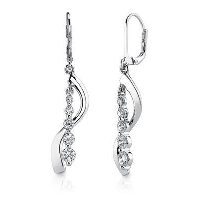 Trendy Classic: Sterling Silver Designer Inspired Journey Style Lever back Earrings with Cubic ...