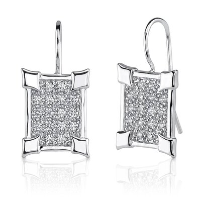 Oravo Graceful Elegance: Sterling Silver Celebrity Inspired Art Deco Style Shepherds Hook Earrings with Cubic Zirconia