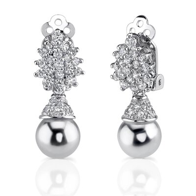Oravo Gracious Elegance: Sterling Silver Art Deco Inspired Bridal Style Drop Earrings with Faux White Pearls and CZ