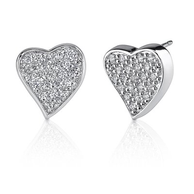 Oravo Sparkling Romance: Sterling Silver Bridal Style Heart Earrings with Pave Cubic Zirconia