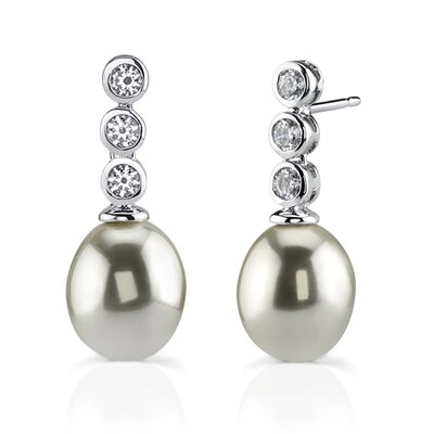 Oravo Antique Beauty: Sterling Silver Art Deco Inspired Bridal Style Faux Pearl Drop Earrings with Bezel Set Cubic Zirconia