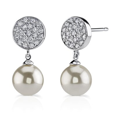 Oravo Pageant Desire: Sterling Silver Celebrity style Bridal Jewelry Cubic Zirconia Disc Studs with Drop White Faux Pearls