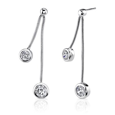 Sparkling Cascade: Sterling Silver Bridal Style Drop Earrings with Bezel Set Cubic Zirconia