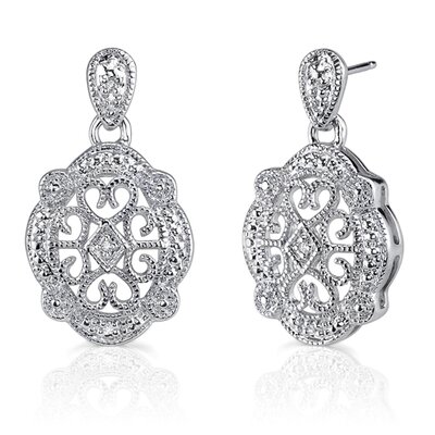 Vintage Desire: Sterling Silver Antique Style Drop Earrings with Cubic Zirconia