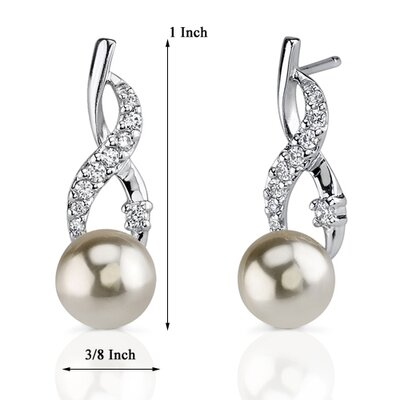 Oravo Classic Elegance: Sterling Silver Designer Inspired Wrap-over Style 8mm Faux Pearl Drop Earrings