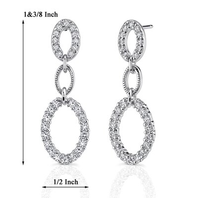 Oravo Dazzling Elegance: Sterling Silver Celebrity Style Open-work Cascading ovals Dangle Earrings with Cubic Zirconia