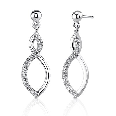 Classic Style: Sterling Silver Designer Style Teardrop Style Post Earrings with Cubic Zirconia