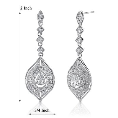 Oravo Starlet Glamour: Sterling Silver Celebrity Style Vintage Inspired Filigree Chandelier Earrings with Cubic Zirconia