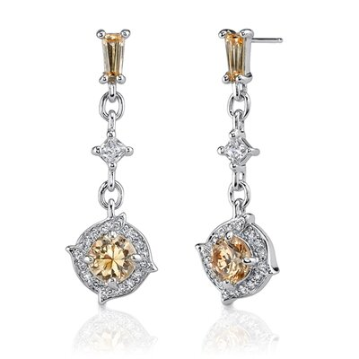 Oravo Enchanting Allure: Sterling Silver Celebrity Style Dangle Earrings with Champagne and White Cubic Zirconia