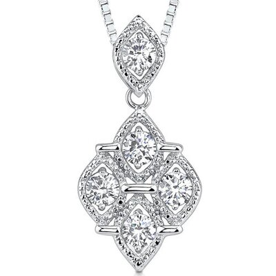 Perfect Glamour: Sterling Silver Celebrity Style Quatrefoil Dangle Pendant Necklace with 5mm ...