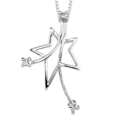 Star Power: Sterling Silver Designer Inspired Bridal Style Shooting Star Pendant Necklace with ...