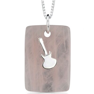 Music for the spirit: Natural Rose Quartz Pendant Necklace with a Sterling Silver Guitar charm ...