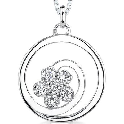 Dazzling Nature: Sterling Silver Swirl Circle Flower Motif Pendant Necklace with Cubic Zirconia