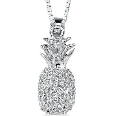Summer Allure: Sterling Silver Designer Inspired Pineapple Dangle Style Pendant Necklace with ...