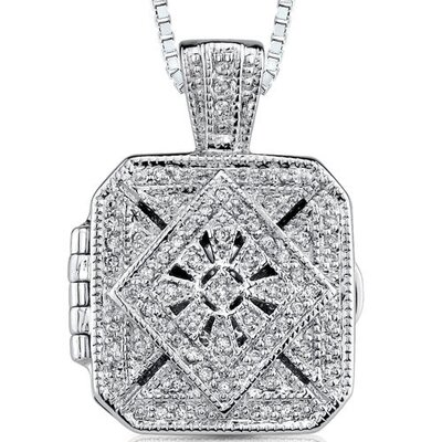 Vintage Legacy: Sterling Silver Antique Style Treasure Locket Pendant Necklace with Cubic Zirconia