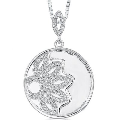 Fiery Splendor: Sterling Silver Celebrity Inspired Engraved Round Medallion Pendant Necklace ...