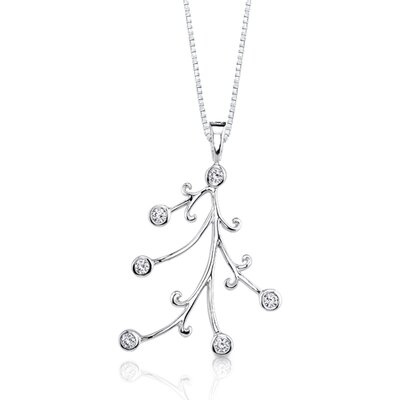Oravo Dainty Opulence: Sterling Silver Bridal Style Hinged Bail Pendant Necklace with Bezel Set Cubic Zirconia