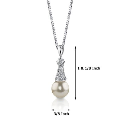 Oravo Regal Elegance Sterling Silver Vintage Style Bridal White Cultured Pearl Cubic Zirconia Pendant Necklace