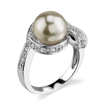 Wrapped in Grace Sterling Silver Size 8 Right Hand Ring with 10mm Faux Pearl and ...