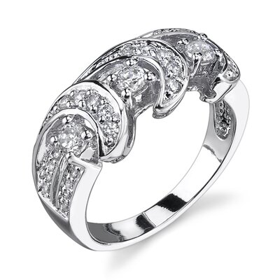 Waves of Glamour Sterling Silver Designer Inspired Size 7 Eternity Ring with Cubic Zirconia