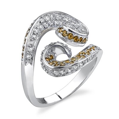 Swirling Beauty Sterling Silver Designer Inspired Size 8 Cocktail Ring with Smoky Cubic Zirconia
