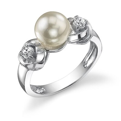 Oravo Devoted to Style Sterling Silver White Cultured Pearl Cubic Zirconia Promise Ring