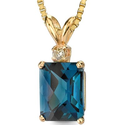14 Karat Yellow Gold 2.75 Carats Radiant Checkerboard Cut London Blue Topaz Diamond Pendant