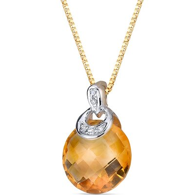 "Oravo 0.5"" 10 Karat Two Tone Gold 3.50 Carats Checkerboard Cut Citrine Diamond Pendant"
