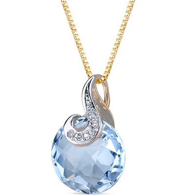 5 Piece 10 Karat Two Tone Gold 4.50 Carats Checkerboard Cut Blue Topaz Diamond Pendant ...