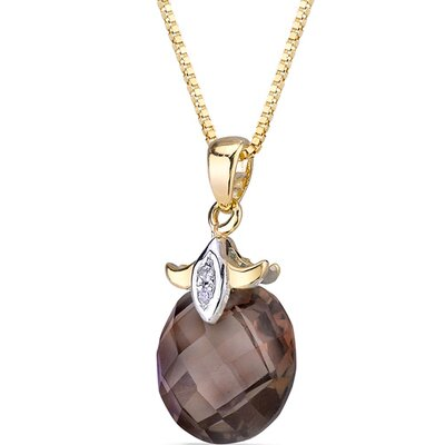 Oravo 2 Piece 10 Karat Two Tone Gold 3.50 Carats Checkerboard Cut Smoky Quartz Diamond Pendant