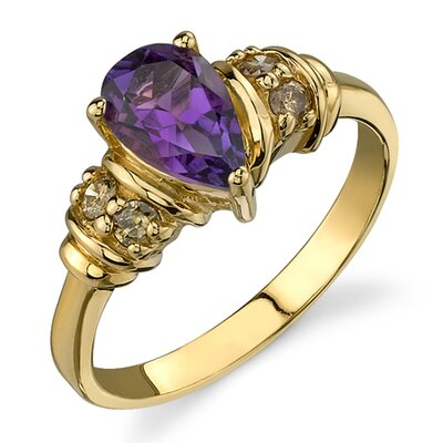 Exclusive and Elegant 0.87 Carat Pear Shape Amethyst Diamond Ring 14 Karat Yellow Gold