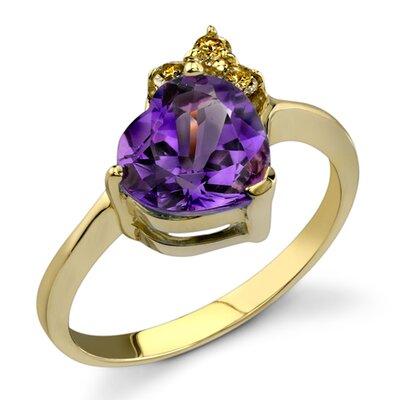 Dramatic Romance 1.62 Heart Shape Amethyst Diamond Ring 14 Karat Yellow Gold