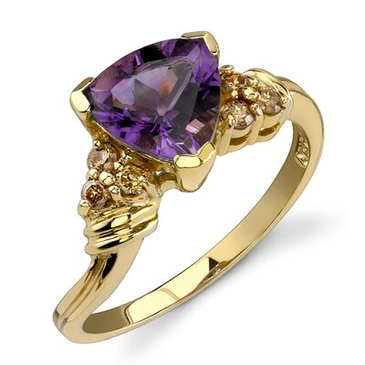 Captivating and Radiant 1.68 Carats Trillion Cut Amethyst Diamond Ring 14 Karat Yellow Gold