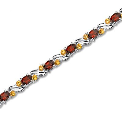 Oravo Sterling Silver 9.50 Carats Total Weight Oval Cut Garnet and Round Cut Citrine Tennis Style Bracelet